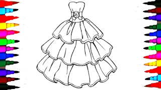 Barbie Glamour Dress 2 BEST LEARNING Coloring Book l Page For Children Learn Rainbow Colors Videos