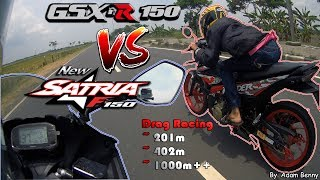 Video HOT!!! GSX-R 150 VS Satria 150 Fi Drag Race On 201m, 402m, & 1000m++! - By. Adam Benny MP3, 3GP, MP4, WEBM, AVI, FLV Juni 2019
