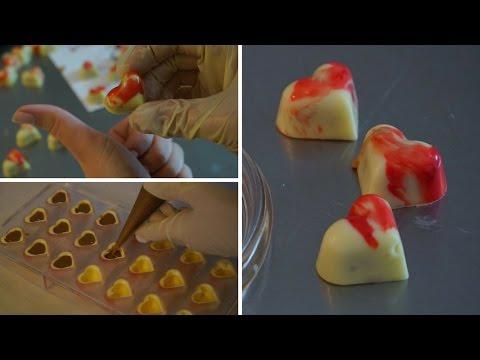 Einfach Herz Pralinen mit Vanillefüllung - Pralinen ...