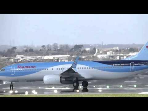 Birmingham Airport BHX Crosswind Takeoff's 31-03-2015
