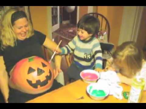 Painting a Pumpkin on Lisa's Pregnant Tummy – Happy Halloween!
