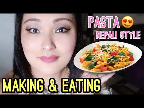 (Making & Eating: PASTA Nepali Style * Hunger Warning * || Eating Show (Mukbang) - Duration: 15 minutes.)