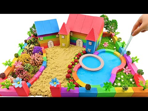 Miniature Kinetic Sand House #11 - Build House has Flower Garden vs Swimming Pool from Kinetic Sand