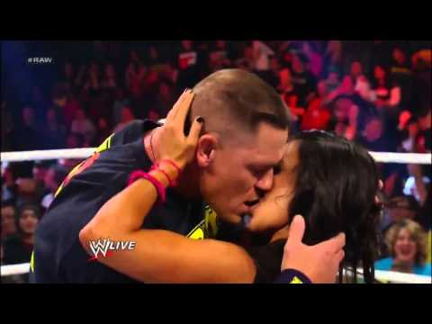 Kiss - John Cena and AJ Lee Kiss - WWE Raw 11/19/12.