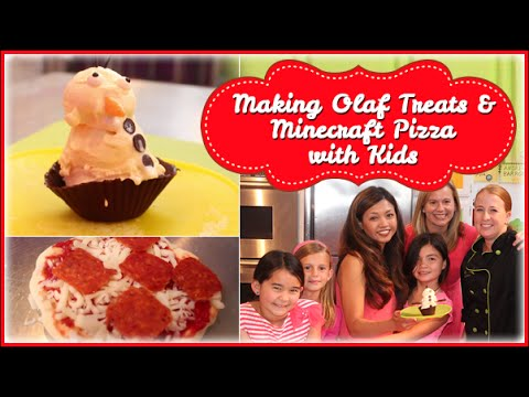 Making Olaf (from Movie Frozen) Treats & Creeper (from Minecraft) Pizza With Kids