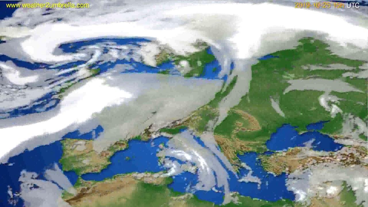 Cloud forecast Europe // modelrun: 12h UTC 2019-10-22