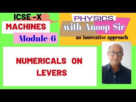 PHYSICS ICSE-10 MACHINES ....MODULE -6 NUMERICALS ON LEVERS
