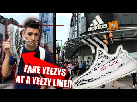 Wearing FAKE YEEZYS AT THE ADIDAS STORE YEEZY LINE!   Social Experiment