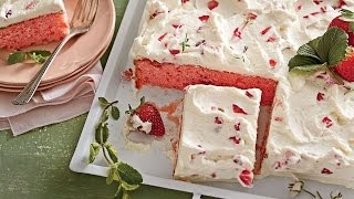 Strawberries-and-Cream Sheet Cake   Southern Living