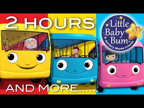 Wheels On The Bus | Part 2 Compilation! | 2+ Hours of Nursery Rhymes by LittleBabyBum! (видео)