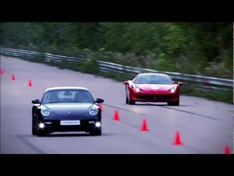 ferrari 458 italia vs porsche 911 turbo s pdk - drag race