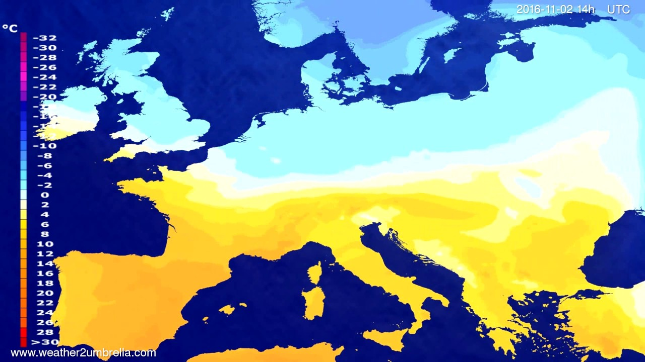 Temperature forecast Europe 2016-10-29