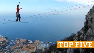 TOP FIVE: Hoop Diving, Highlining & Handstands | PEOPLE ARE AWESOME 2017, clip giai tri, giai tri tong hop
