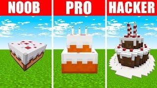Minecraft NOOB vs. PRO vs. HACKER : BIRTHDAY CELEBRATION BUILD CHALLENGE in Minecraft!