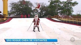 Pista de esqui com neve artificial atrai visitantes para o Natal em São Roque