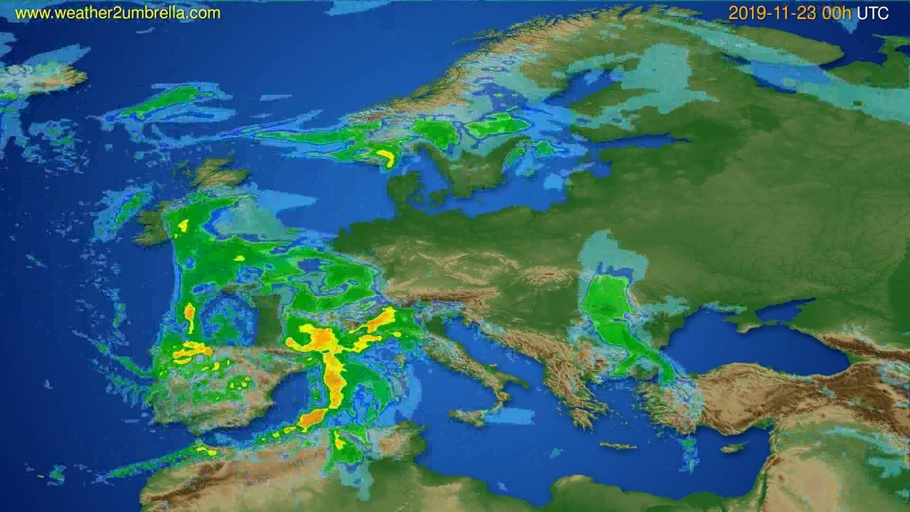 Radar forecast Europe // modelrun: 12h UTC 2019-11-22