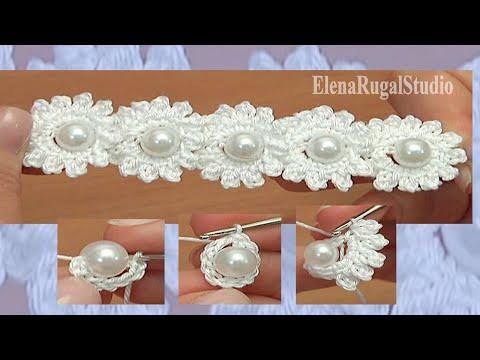 uncinetto - fascia di fiori con perle