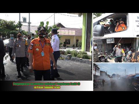 Penyemprotan Desinfektan antisipasi Penyebaran Covid-19 di Pasar Tanjung Tiram