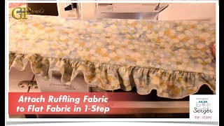 Serger Tip Clip 8: Attach Ruffling Fabric to Flat Fabric in 1-Step