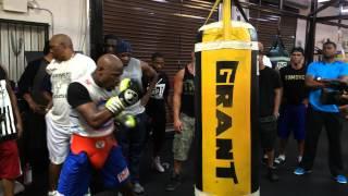 Floyd Mayweather Hitting the Heavy Bag While Training