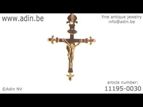 Early 19th Century French gold crucifix cross Jesus and Maria. (Adin reference: 11195-0030)