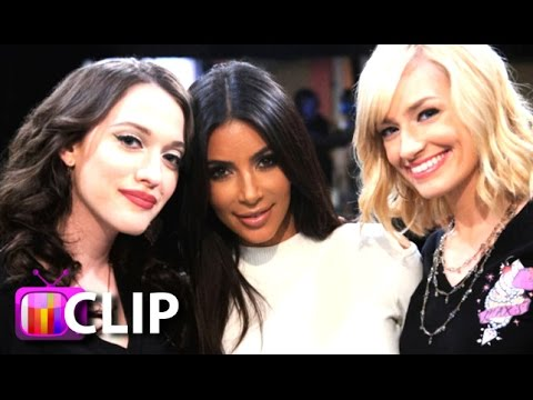 kim - Kim Kardashian guest stars on '2 Broke Girls' and rescues Max (Kat Dennings) and Caroline (Beth Behrs) in this behind the scenes look at her appearance. Subscribe! http://bit.ly/10cQZ5j ...