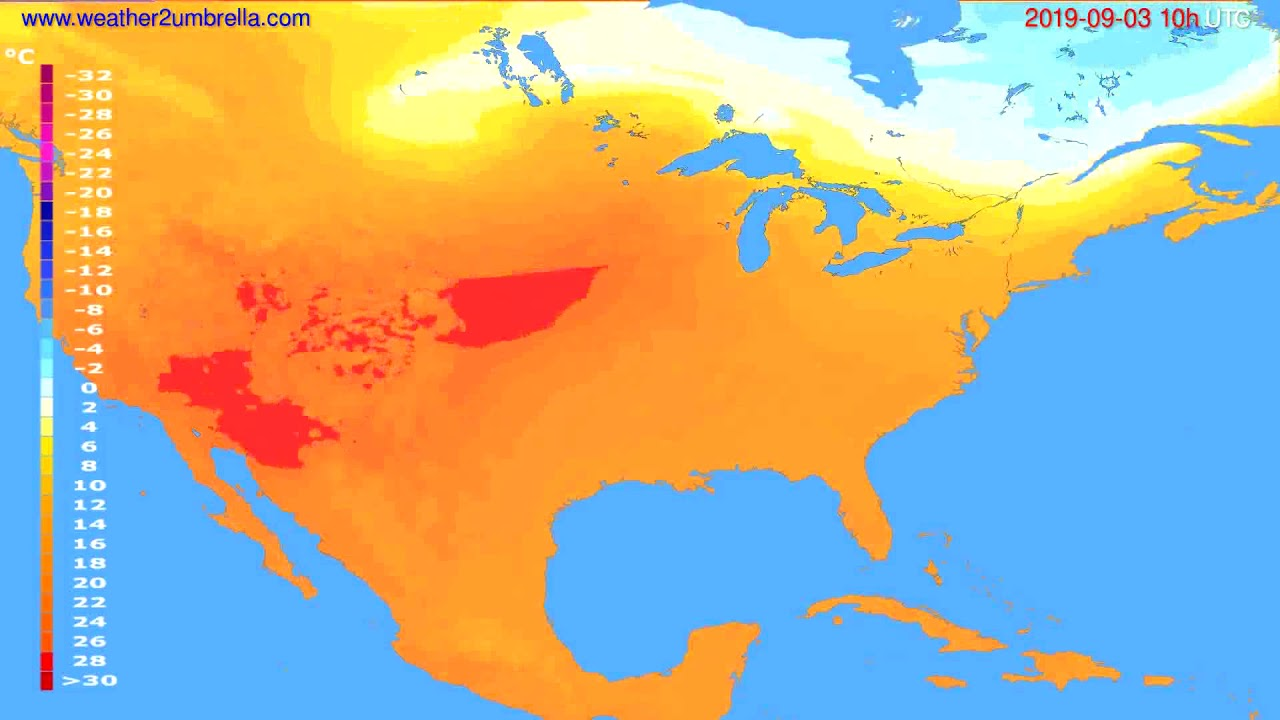 Temperature forecast USA & Canada // modelrun: 00h UTC 2019-09-01