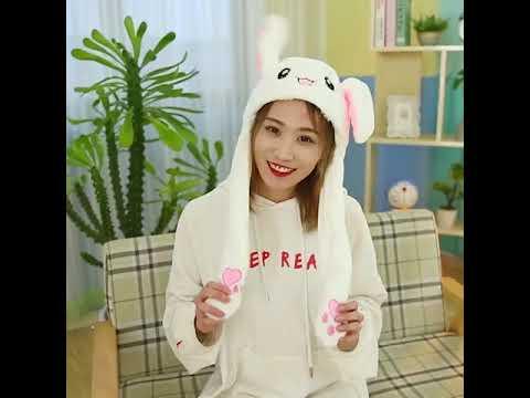 2020 девочка плюшевый двигающийся кролик уши шляпа мультфильм, стич см… видео