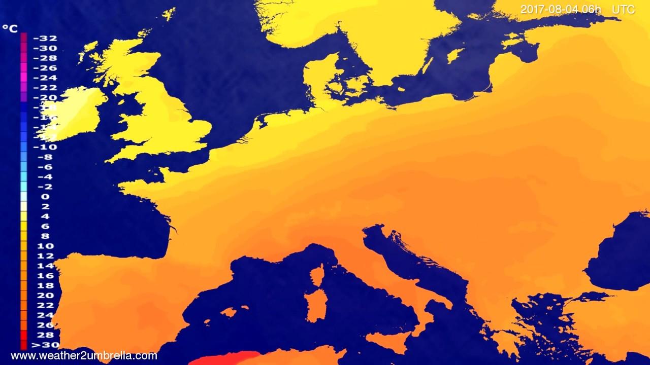 Temperature forecast Europe 2017-08-01