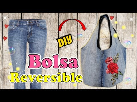 Bolso Reversible Con  Jeans Reciclado - Tutorial Costura Fácil  DIY