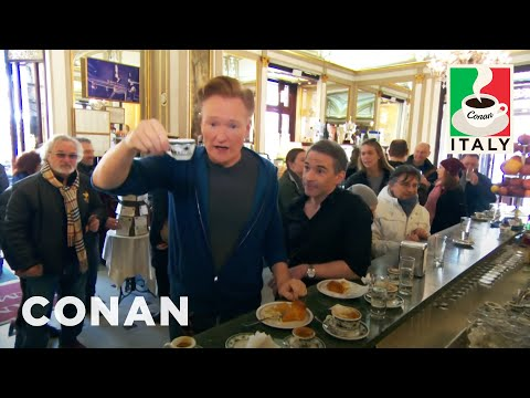 Jordan Schlansky lectures Conan about Coffee in Naples
