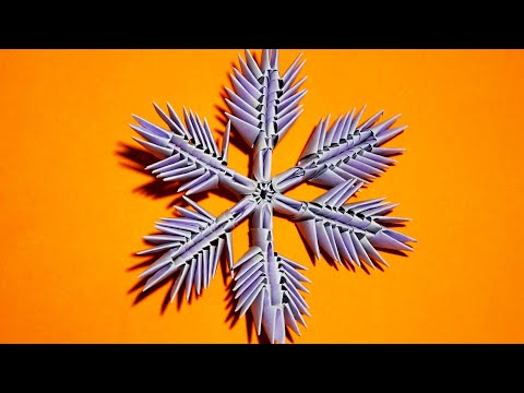 Download 3D origami snowflake made of paper tutorial HD Video