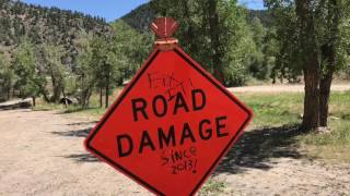 Damage Road notice Indian Hot Springs