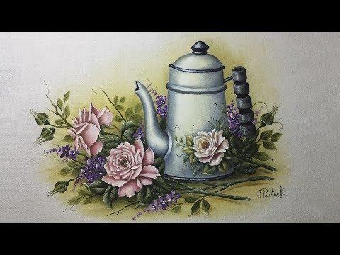 Como Pintar Bule Esmaltado com Rosas - Part 2
