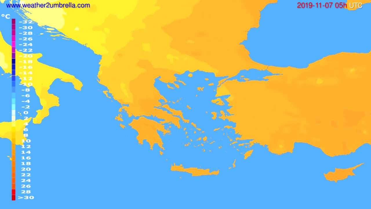 Temperature forecast Greece // modelrun: 00h UTC 2019-11-06