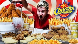 Video THE SUPERCHARGED CHURCH'S CHICKEN MENU CHALLENGE! (12,000+ CALORIES) MP3, 3GP, MP4, WEBM, AVI, FLV Oktober 2018