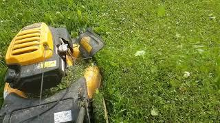 lawn mower in slow motion