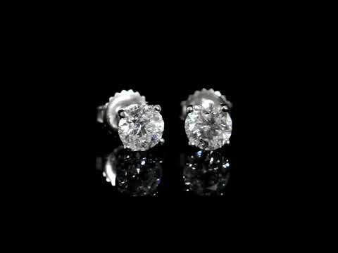 CGL Certified 2.02ct (TDW) Round Brilliant 'Hearts and Arrows' Cut Canadian Diamonds Earrings