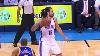 Steven Adams Tosses Fastball Pass to Andre Roberson
