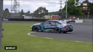 Brock Cooley spins in race 1 at Pukekohe of the 2016/2017 BNT New Zealand Touring Car series