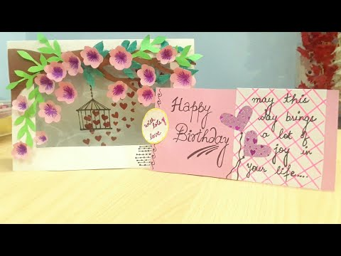 Birthday wishes for best friend - Latest design handmade birthday card for best friend ( bird cage card with pocket)
