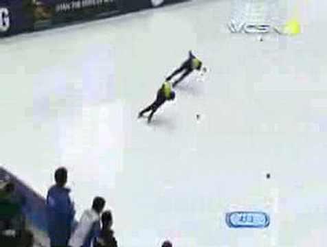 Apolo Ohno - Apolo Ohno of the USA quickly moved from fourth to first and out-maneuvered Seung-Hoon Lee of Korea to win the 1000 meter gold medal in Salt Lake City, Utah....