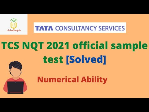 TCS NQT 2021 Official Sample Test solved   Complete Numerical Ability solutions   Prepare for TCS