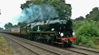 A short clip of 34046 'Braunton', still running as 34052 'Lord Dowding', on her way to Cardiff with a 'Cathedrals Express' from London Paddington, running vi...