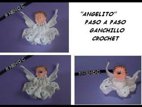 1 DE 2 COMO TEJER ANGELITO GANCHILLO CROCHET ADORNO DECORACION NAVIDEÑA