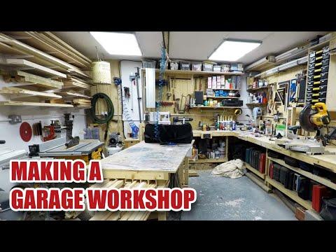 Making a 240 sq ft Garage Workshop in 12 minutes (Timelapse)