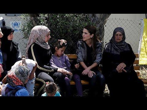 Στη Λέσβο η βασίλισσα Ράνια της Ιορδανίας