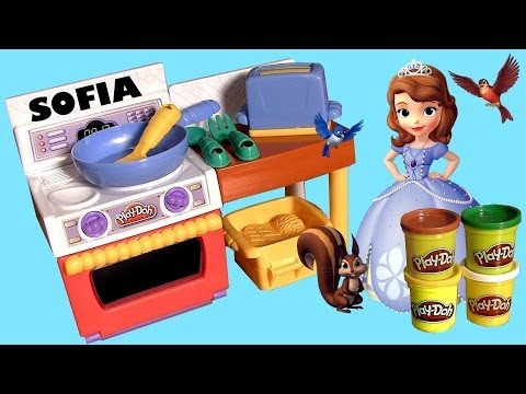 Play Doh Meal Makin' Kitchen Sofia the First Family Baking Fun Disney Princess Make Pizza Tacos!