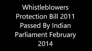 Whistleblowers Protection Bill 2011 Passed By Indian Parliament February 2014