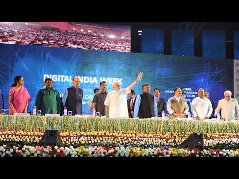 PM Modi at the launching ceremony of Digital India Week.